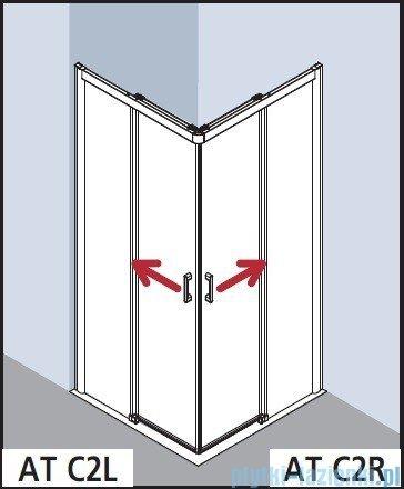 Kermi Atea Wejście narożne lewe, połowa kabiny, szkło przezroczyste KermiClean, profile białe 100x200cm ATC2L100202PK