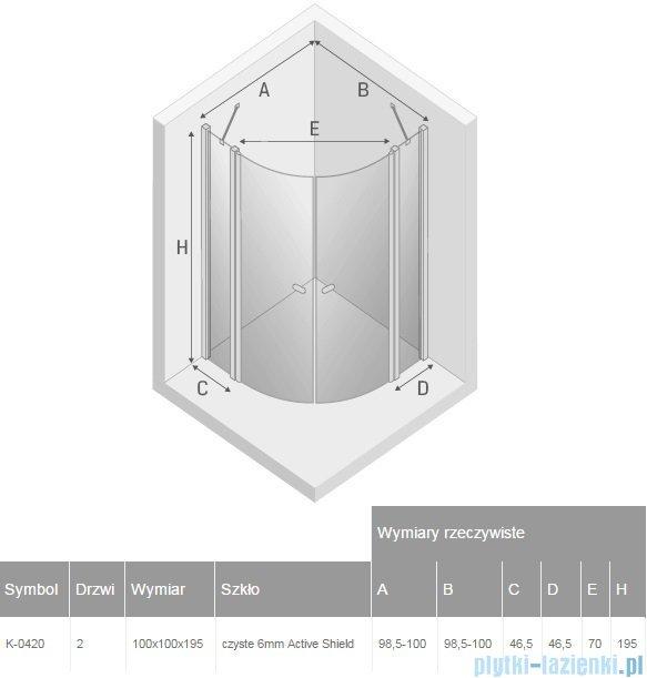 New Trendy New Soleo kabina półokrągła R55 100x100x195 cm przejrzyste K-0420