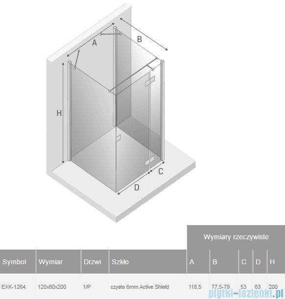 New Trendy Reflexa 120x80x200 cm kabina trójścienna prawa przejrzyste EXK-1264