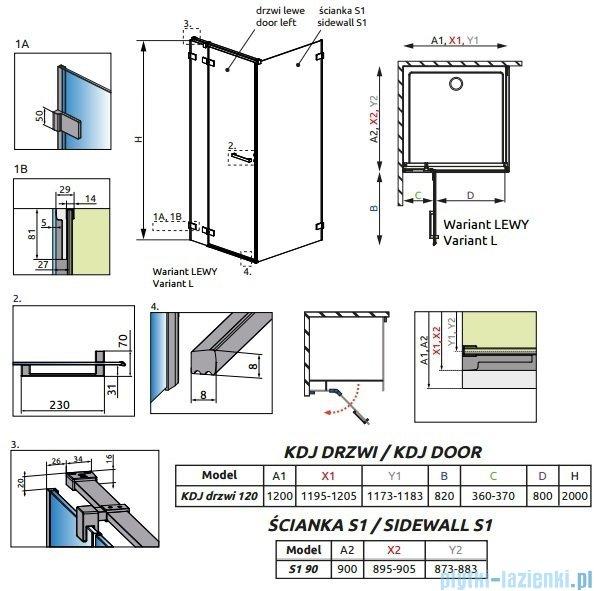 Radaway Euphoria KDJ Kabina prysznicowa 120x90 lewa szkło przejrzyste + brodzik Argos D + syfon 383042-01L/383050-01/4AD912-01
