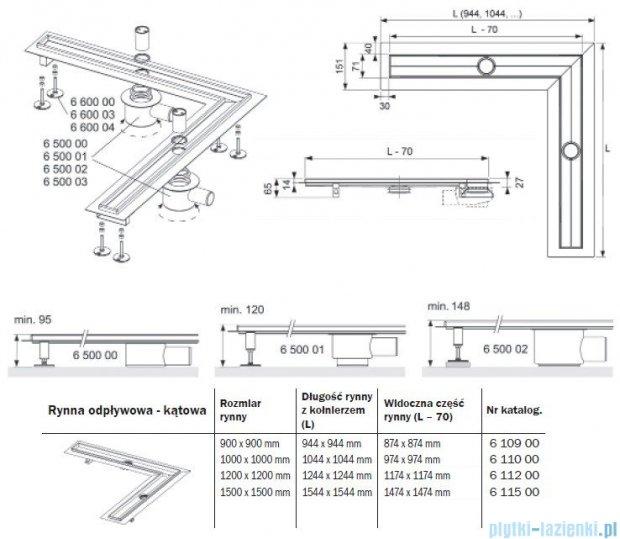 Tece Rynna odpływowa Tecedrainline-kątowa 120x120cm 6.112.00