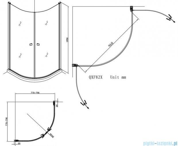 Alterna kabina półokrągła 2-ścienna 80x80x195 cm przejrzysta ALTN-195217