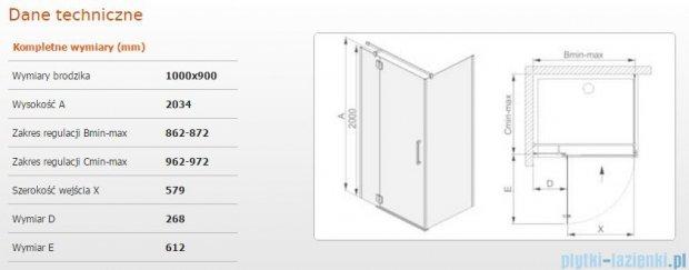 Sanplast kabina narożna prostokątna lewa przejrzysta  KNDJ2L/AVIV-100x90 100x90x203 cm  600-084-0290-42-401
