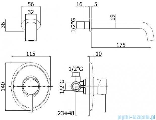 Paffoni Bateria umywalkowa podtynkowa ścienna, L=175 mm Berry chrom BR006CR