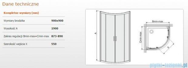 Sanplast kabina narożna półokrągła KP4/TX4-90 szkło: Cora 600-271-0061-39-370