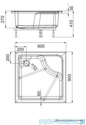 Schedpol Brodzik kwadratowy z siedziskiem Doris 90x90x28cm 3.233