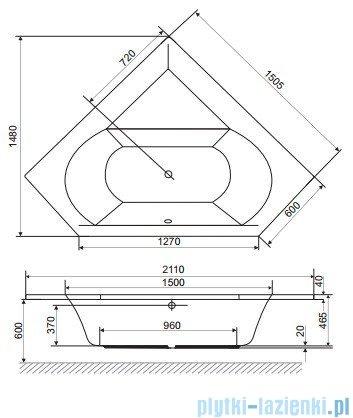 Wanna symetryczna Excellent Supreme 150x150 biała z nogami WAEX.SUP15WH