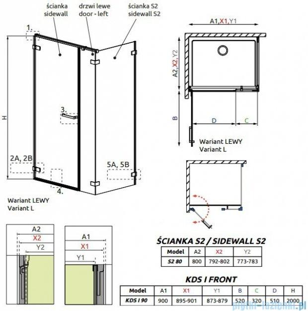 Radaway Arta Kds I kabina 90x80cm lewa szkło przejrzyste 386520-03-01L/386100-03-01L/386110-03-01