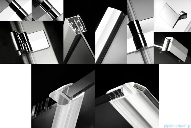 Radaway Almatea Kdj Kabina kwadratowa 80x80 Lewa szkło grafitowe + Brodzik DELOS C 80 + syfon 32112-01-05NL