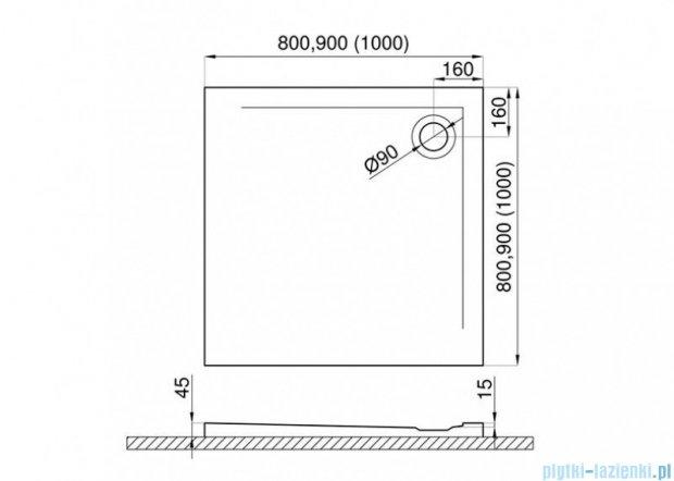 Polimat Geos brodzik akrylowy kwadratowy posadzkowy 90x90cm 00433