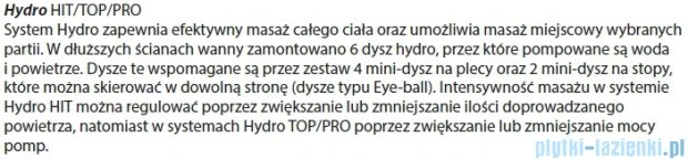 Riho Geta Wanna asymetryczna 160x90 prawa z hydromasażem PRO Hydro 6+4+2 BA86P6