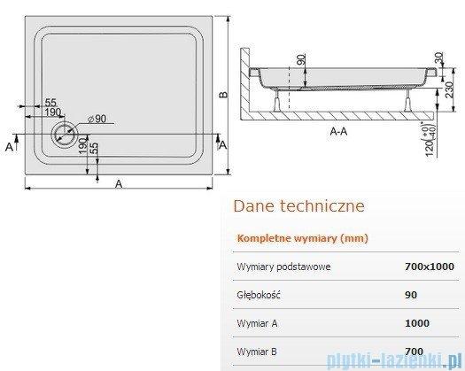 Sanplast Brodzik prostokątny Free Line 100x70x9cm + stelaż 615-040-0070-01-000
