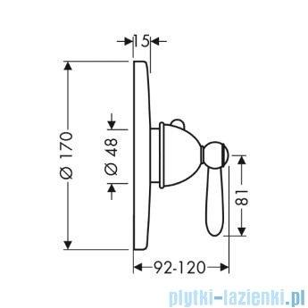 Hansgrohe Axor Carlton Bateria termostatowa podtynkowa z uchwytem jednoramiennym chrom/złoty 17710090