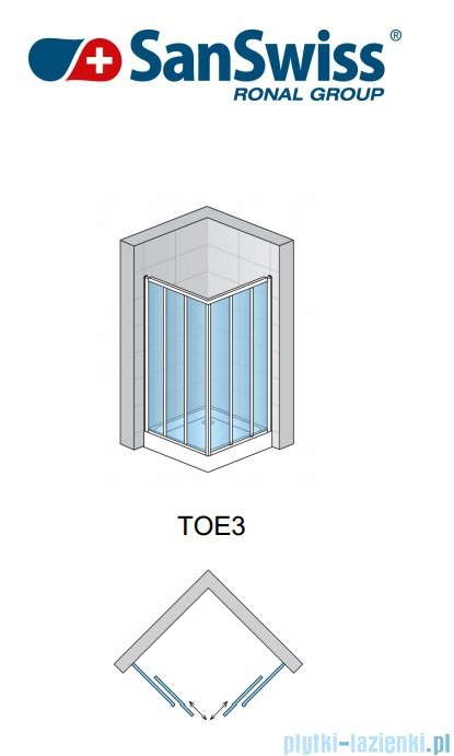 SanSwiss Top-Line TOE3 Wejście narożne 3-częściowe 120cm profil srebrny Lewe TOE3G12000107