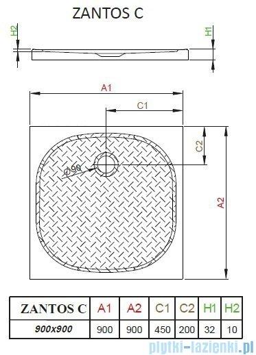 Radaway Zantos C brodzik kwadratowy 90x90cm M3ZNC9090-06