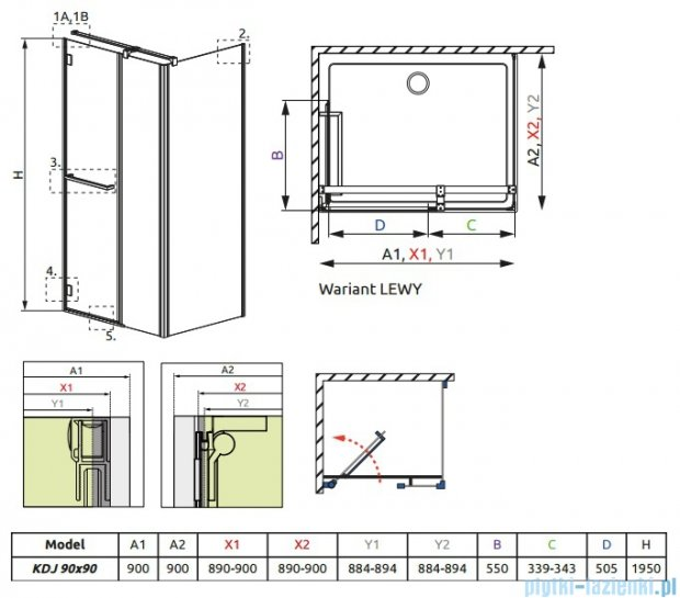 Carena Kdj Radaway Kabina kwadratowa 90x90 lewa szkło przejrzyste 34402-01-01NL