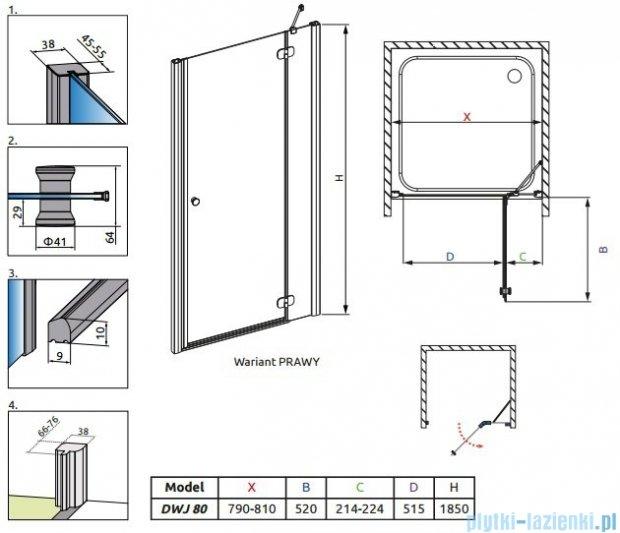 Radaway Torrenta DWJ drzwi wnękowe 80 prawe szkło carre 32010-01-10N