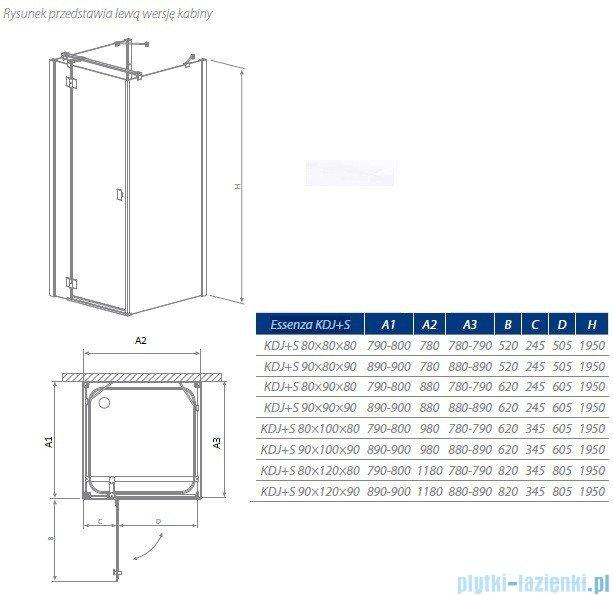 Radaway Essenza KDJ+S kabina 80x80 prawa szkło przejrzyste + Brodzik Delos C + syfon 32912-01-01R