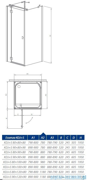 Radaway Essenza KDJ + S kabina 80x80 prawa szkło przejrzyste 32912-01-01R