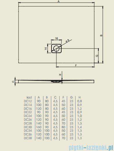 Riho Brodzik prostokątny Basel 418 140x90x4,5cm DC28