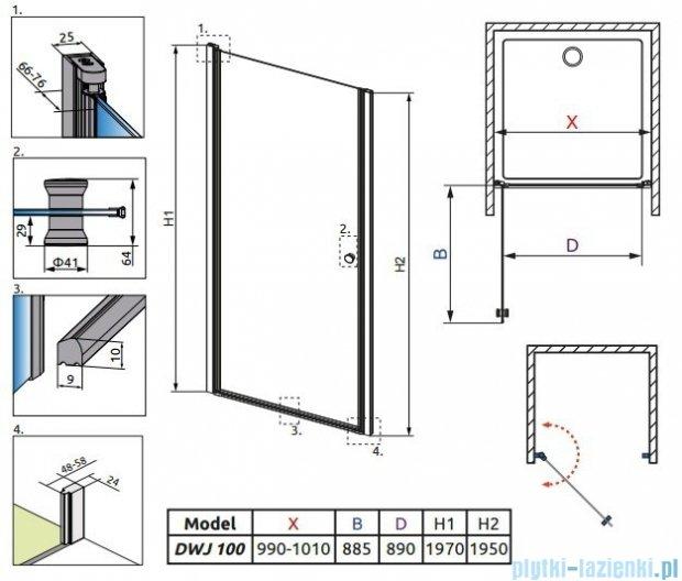 Eos DWJ Radaway Drzwi wnękowe 100 szkło intimato + brodzik Delos C + syfon 37923-01-12N