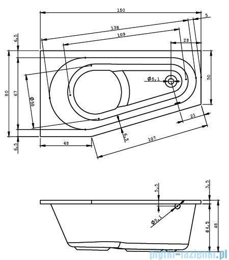 Riho Delta wanna asymetryczna 150x80 prawa + nóżki + syfon BB80/01U/AMC55