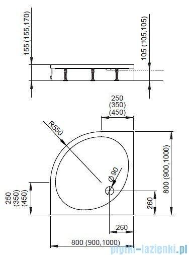 Radaway Patmos A Brodzik półokrągły 100x100 bez obudowy 4S11155-03B