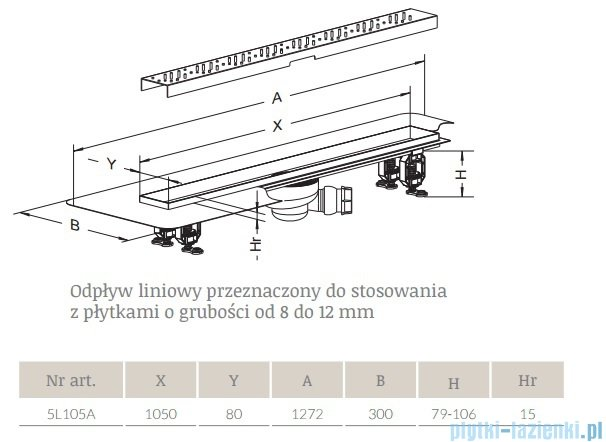 Radaway Quadro Odpływ liniowy 105x8cm 5L105A,5R105Q