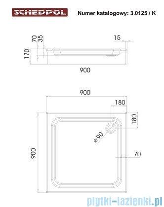 Schedpol Grando Plus Brodzik kwadratowy 90x90x17cm 3.0125