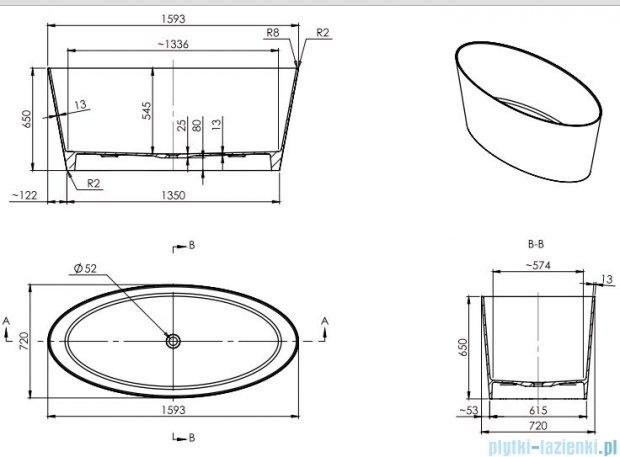 Omnires wanna 159x72cm wolnostojąca biało-czarny mat MARBLE+ROMA159CM
