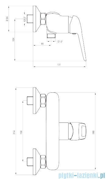Deante Hortensja bateria natryskowa bez kompletu natryskowego chrom BEH 040M