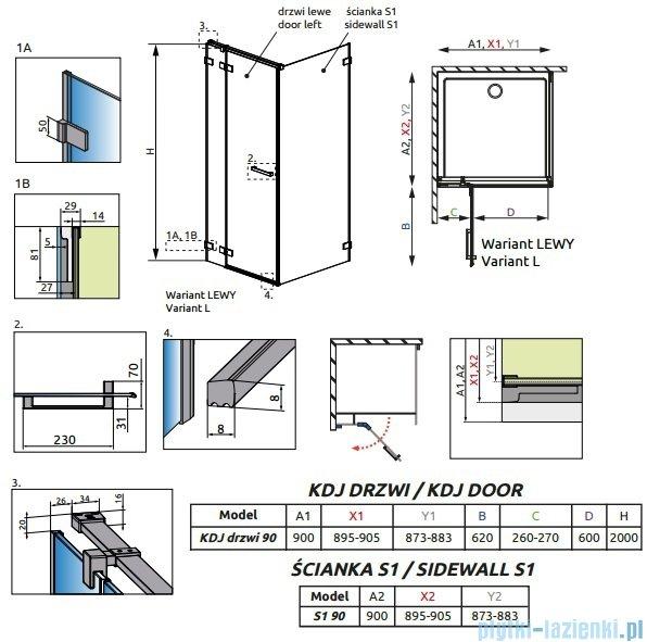 Radaway Euphoria KDJ Kabina prysznicowa 90x90 lewa szkło przejrzyste 383044-01L/383050-01