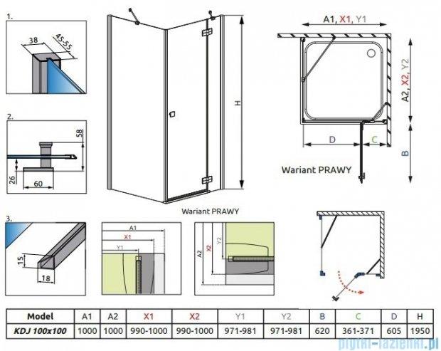 Radaway Kabina prysznicowa Almatea Kdj 100x100 prawa szkło przejrzyste 32150-01-01NR