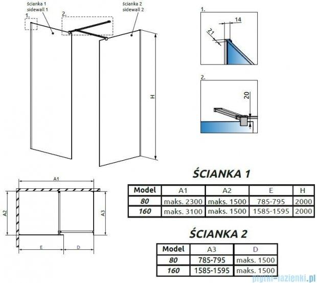 Radaway Modo New III kabina Walk-in 160x80x200 szkło przejrzyste 389164-01-01/389084-01-01/389000-01