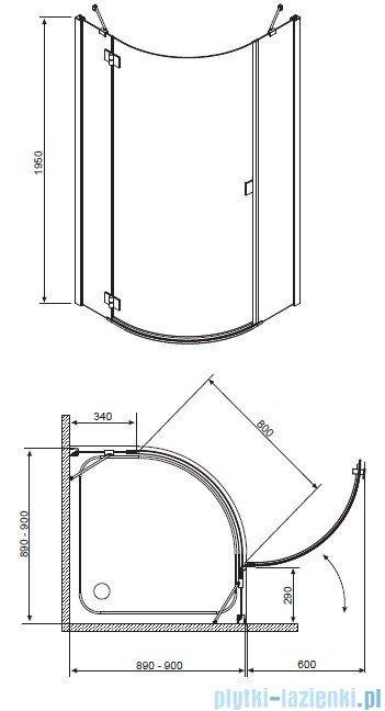 Radaway Essenza PDJ kabina 90x90 Lewa szkło grafitowe 32602-01-05NL