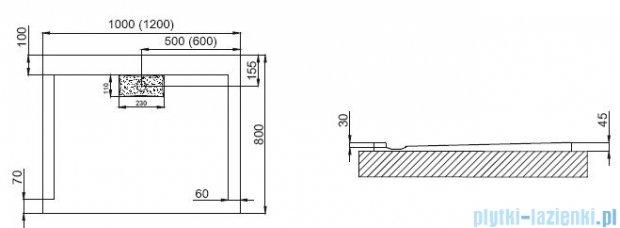 Polimat Comfort brodzik akrylowy posadzkowy 100x80 czarny połysk 00138