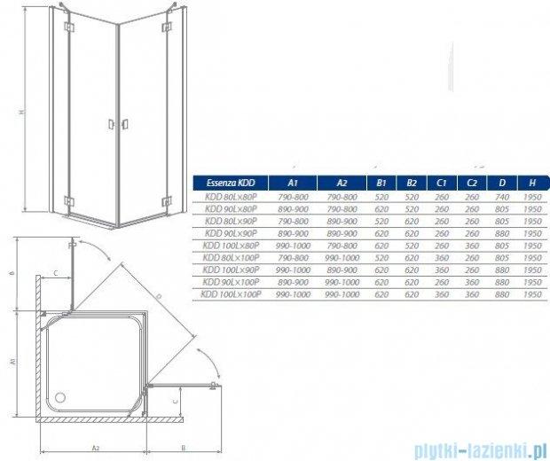 Radaway Essenza KDD kabina 80x80 szkło przejrzyste + Brodzik Delos C + Syfon