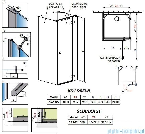 Radaway Essenza New Kdj+S kabina 100x100x100cm prawa szkło przejrzyste 385022-01-01R/384052-01-01/384052-01-01