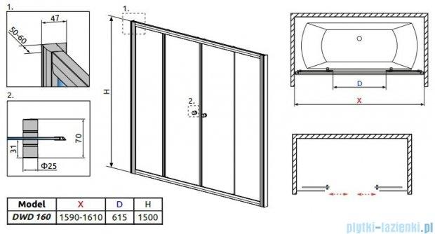 Radaway Vesta DWD Drzwi przesuwne 160 cm szkło fabric 203160-06