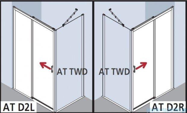 Kermi Atea Drzwi przesuwne bez progu, prawe, szkło przezroczyste, profile srebrne 130x200 ATD2R13020VAK