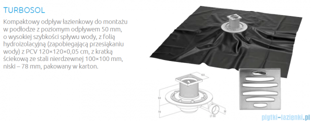 Radaway TURBOSOL Kompaktowy odpływ łazienkowy z odpływem 50 mm