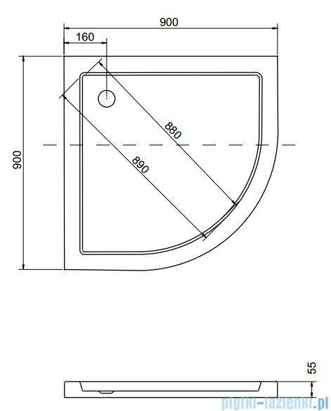 Besco Aron Brodzik 90x90x3/5.5cm półokrągły wpuszczany w posadzkę #BAA-90-NR