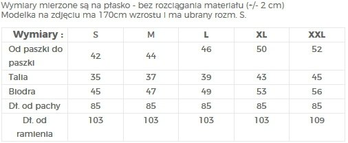 TABELA ROZMIARÓW - SUKIENKA NA RÓŻNE OKAZJE - NUMOCO / POLSKA