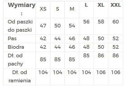 TABELA ROZMIARÓW / SUKIENKA Z RĘKAWAMI 3/4 - NUMOCO / POLSKA