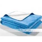 Koc Moca Design Doubleface - ecru + niebieski
