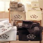Komplet ręczników Tac - Wineyard - 3 szt. - białe brązowe