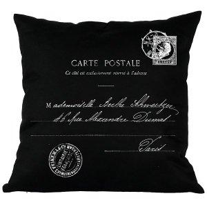 Poduszka French Home - Carte Postale - czarna
