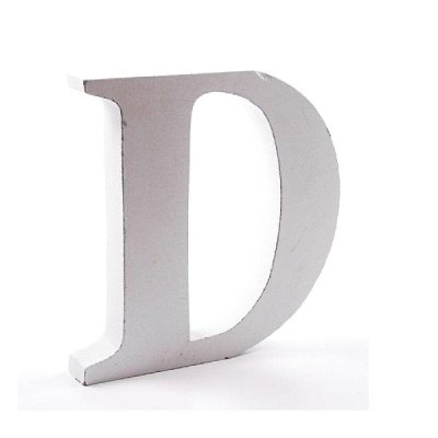 Litera dekoracyjna duża - D - biała