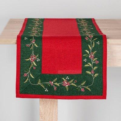Bieżnik świąteczny CHRISTMAS - czerwono-zielony 40x140 cm
