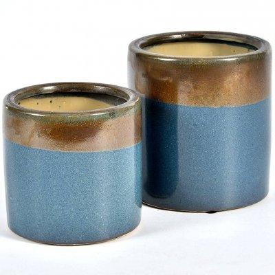 Doniczka Belldeco Włoskie Niebo - brązowo-niebieska - 13 cm
